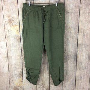 Roxy Symphony Lover Green Linen Beach Pants Sz L